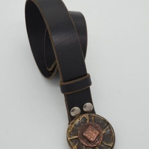 Black belt with round decorative metal buckle by Len Canton - market house craftworks