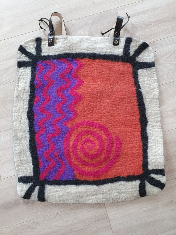 Pink spiral & zigzag lines bum mat by Joan Casey