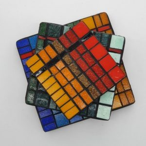 Set of 3 Mosaic Teapot Stands #2 by Joan Casey