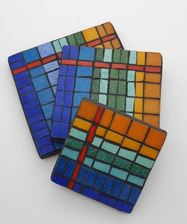 Set of 3 Mosaic Teapot Stands by Joan Casey