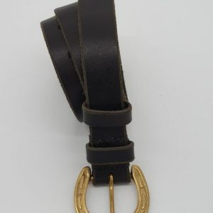 black belt with horseshoe buckle by Len Canton - market house craftworks