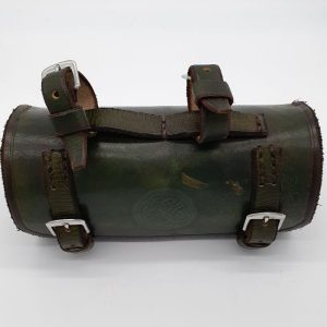 Green, cylindrical leather bicycle bag, with bridle buckles.