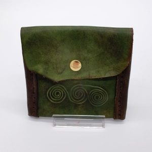 Green leather purse with brass-coloured press stud.