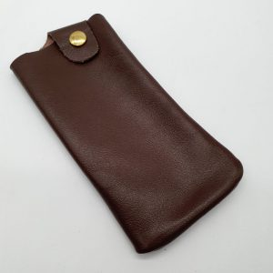 Soft brown leather glasses case.