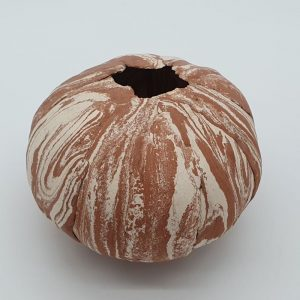 Terracotta and White Pod Form by Jane Jermyn
